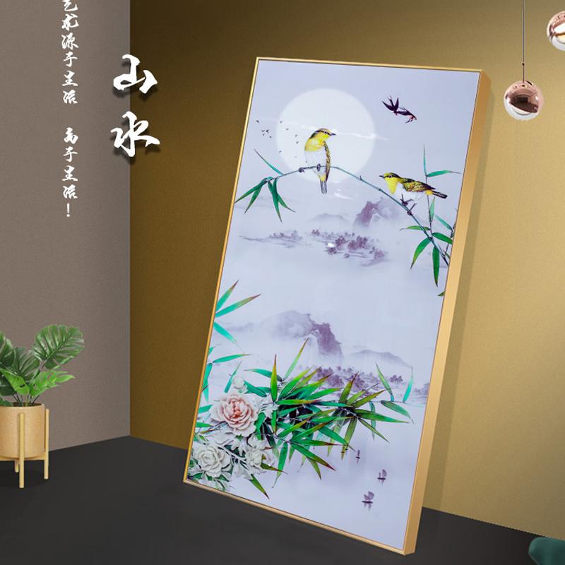 山水花鸟装饰画浮雕立体装饰画烁金晶瓷工艺画